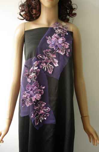 VF126 Mirror Layered 3D Floral Sequined Emb Applique Purple