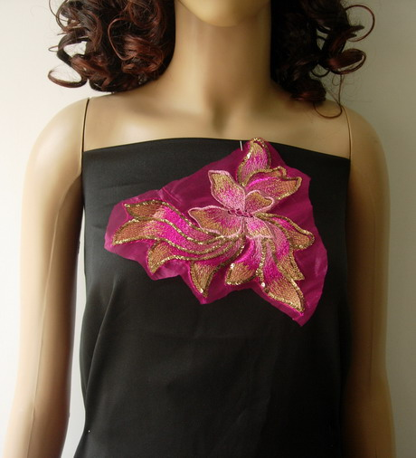VF129 Fuchsia-tone Butterfly Floral Sequined Trim Applique