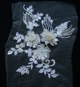 VF132 White Layered 3D Floral Embroidered Sequined Trim Applique ... 41754beb914d