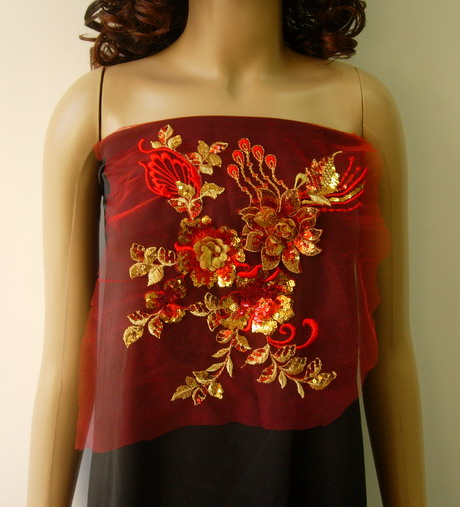 VF133 Red Gold Layered 3D Floral Emb Sequined Trim Applique