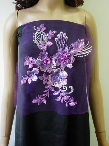 VF135 Lavender Silver Tier 3D Floral Emb Sequined Trim Applique