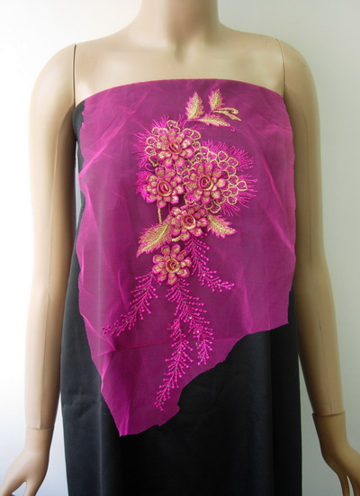 VF138 Fuchsia Gold Layered 3D Floral Gems Trimming Applique