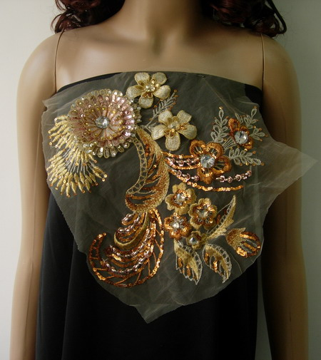 VF140 Gold/Brass Layered 3D Floral Gemstones Trim Tulle Applique