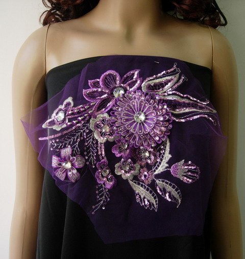 VF145 Lavender 3D Flora Flower Gemstones Trim Tulle Applique
