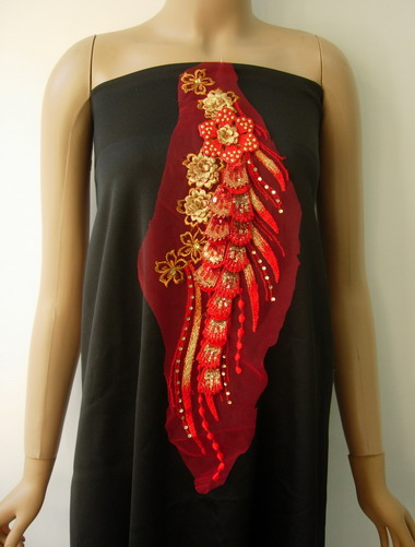 VF152 Tier 3D Tail Floral Sequin Trim Tulle Applique Red Gold