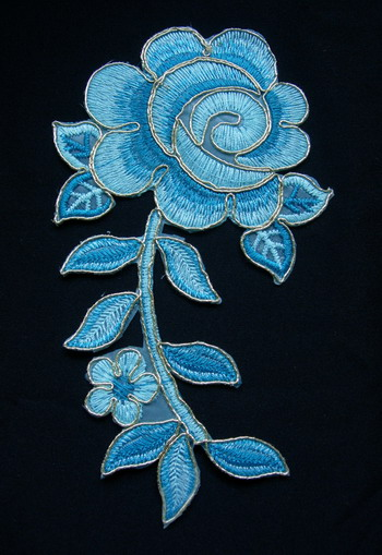 VF159 Aqua Rose Floral Leaf Sequined Trimming Applique Motif