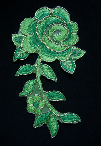 VF160 Green Tone Rose Floral Leaf Trimming Applique