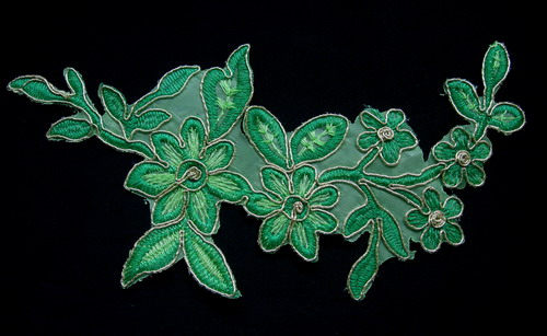 VF161 Green Tone Tree Floral Leaves Trimming Applique