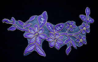 VF162 Purple Tone Tree Floral Leaves Trimming Applique