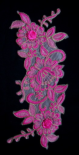 VF167 Curl Floral Leaves Trimming Embroidered Applique Fuchsia