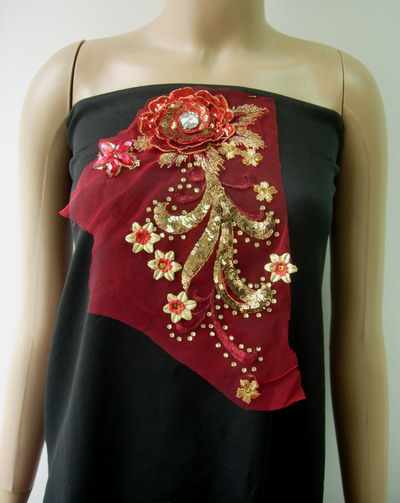 VF172 3D Tier Floral Star Gems Red Gold Trimming Tulle Applique