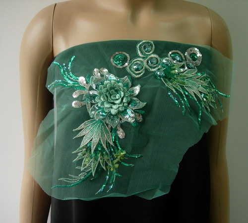 VF176-2 Teal 3D Floral Leaf Gemstones Trimming Tulle Applique