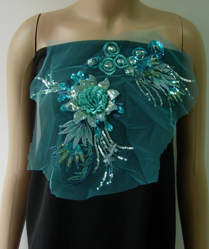 VF176 Aqua 3D Floral Leaf Gemstones Trimming Tulle Applique
