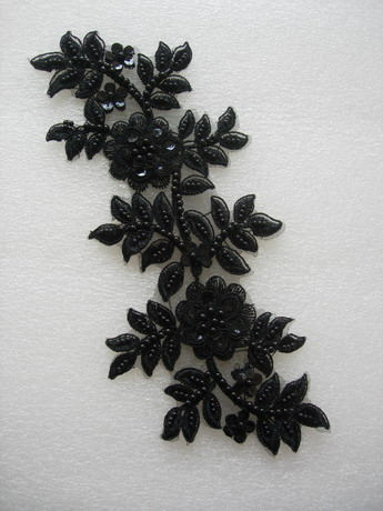 VF178-2 Curl Floral Sequined Beaded Venise Applique Black