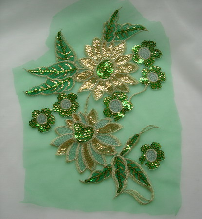 VF180-2 Green Gold Floral Embroidered Sequin Trim Tulle Applique