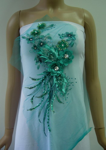 VF188 Tier Floral Leaves Gems Sequin Beaded Tulle Applique Teal