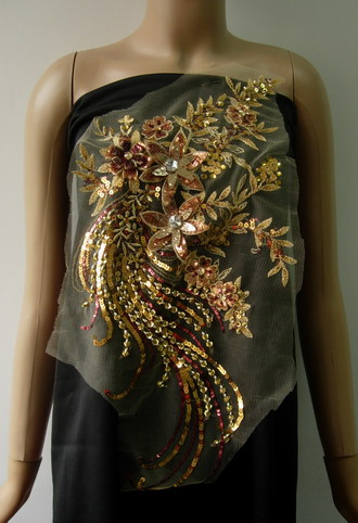 VF191 Glitter 3D Floral Rhinestone Gems Sequin Tulle Motif Gold