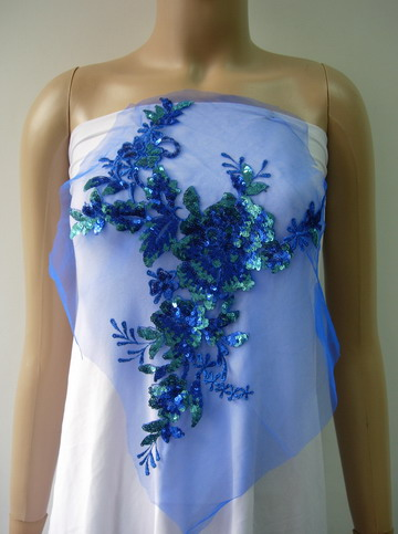 VF196 Blue-tone Floral Embroidered Sequin Lace Tulle Applique