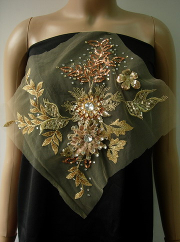 VF200 Tree Floral Rhinestone Gems Sequin Lace Tulle Applique