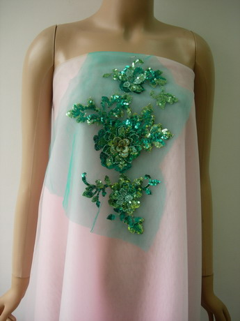 VF204-2 Green Tone Floral Tier Flower Trim Sequin Tulle Applique