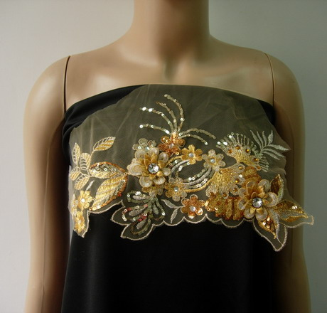 VF205 Gold Tier Floral Leaves Gems Trim Sequin Tulle Applique