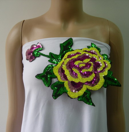 VF211 Brightly Colored Floral Rose Peony Sequined Applique Motif