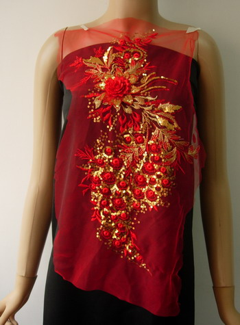 VF219 Leaves Floral 3D-Flower Sequined Tulle Applique Red Gold