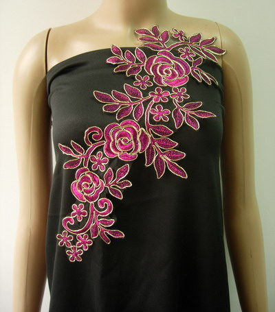 VF224 Trendy Floral Rose Metallic Trimming Lace Applique Fuchsia