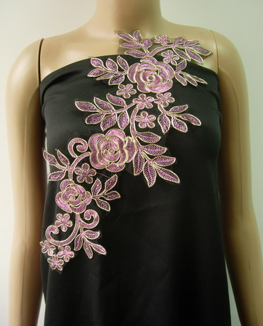 VF225 Trendy Floral Rose Metallic Trims Lace Applique Lavender
