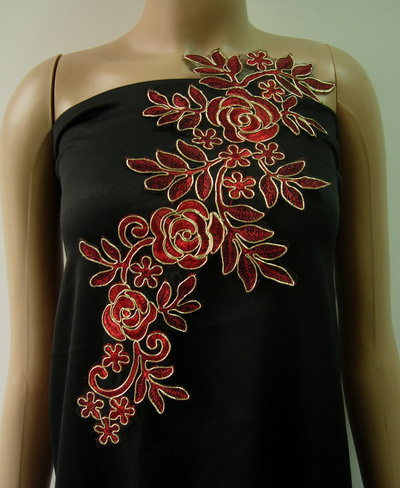VF226 Trendy Floral Rose Metallic Trimming Lace Applique Red