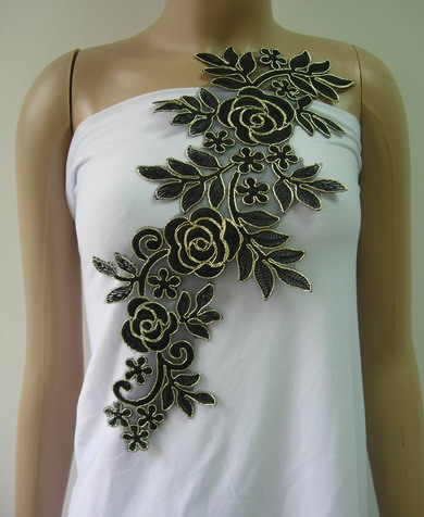 VF228 Trendy Floral Rose Metallic Trimming Lace Applique Black