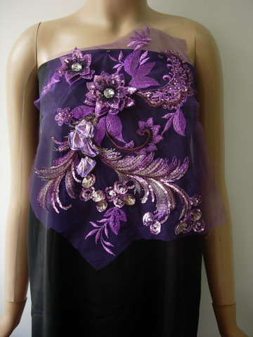 VF238 Purple 3D Floral Curl Gemstone Sequined Tulle Applique