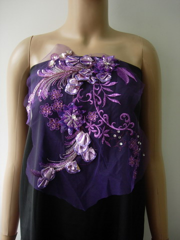 VF239 Purple 3D Tail Floral Gemstone Sequined Tulle Applique