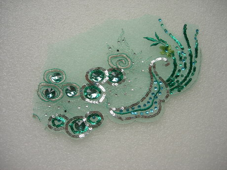 VF270 Teal Tail Floral Gemstones Trimming Tulle Applique