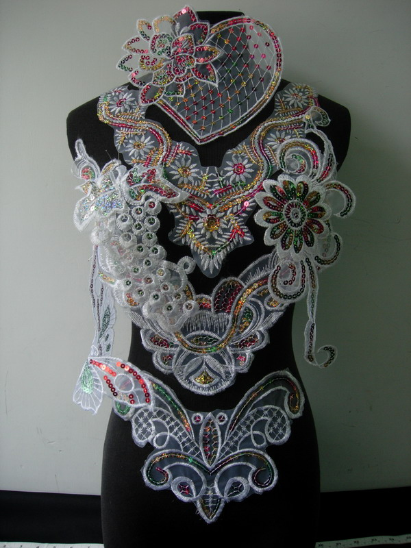 VF272 Assorted sequined Embroidered Lace Applique 7pcs - Click Image to Close