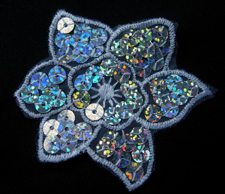 VF48-2 Petal Flower Sequined Venise Venice Applique Silver 5pcs