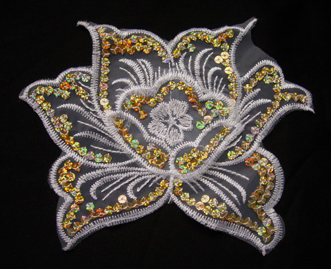 VF67-2 Lotus Flower Venice Hologram Sequin Applique Gold 2pcs