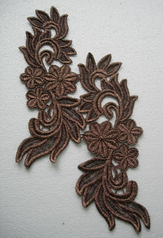 VT141-2 Mirror Tail Floral Brown Metallic Venice Venise Applique