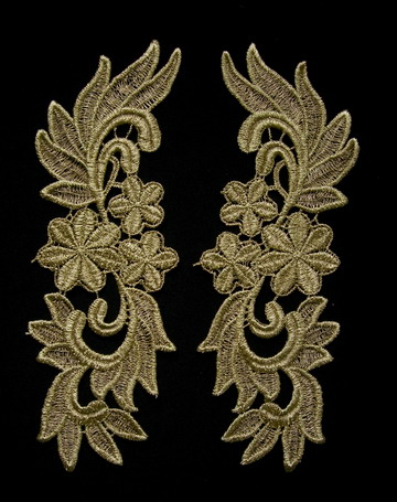 VT141 Mirror Tail Floral Gold Metallic Venice Venise Applique
