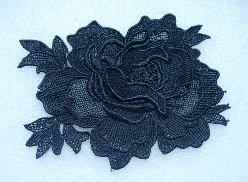 VT143 Rose Peony Floral Venice Venise Applique Sew On Black 2pcs