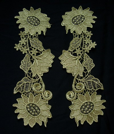 VT145 Mirror Pair Floral Metallic Gold Trim Venise Applique