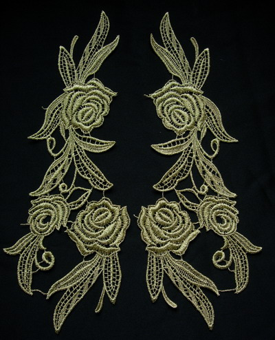 VT147 Mirror Pair Rose Floral Metallic Gold Trim Venise Applique