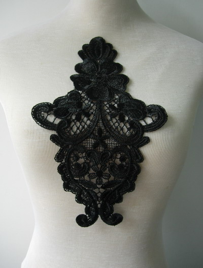 VT185 Vintage Front/Shoulder Lace Venise Venice Applique Black 2 - Click Image to Close