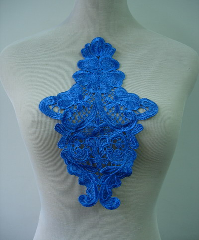 VT186 Vintage Front/Shoulder Lace Venise Venice Applique Blue 2