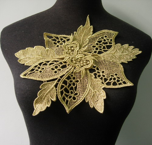 VT207 Leaf Flower Metallic Trim Lace Venise Applique L.Gold