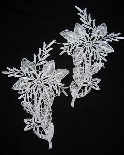 VT216 Mirror Pair Tree Flower Venise Venice Applique Cream