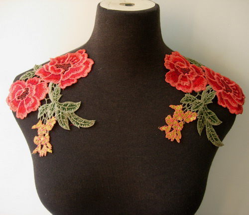 VT240 Red Tone Floral Lace Venise Applique Epaulette/Sleeves x2