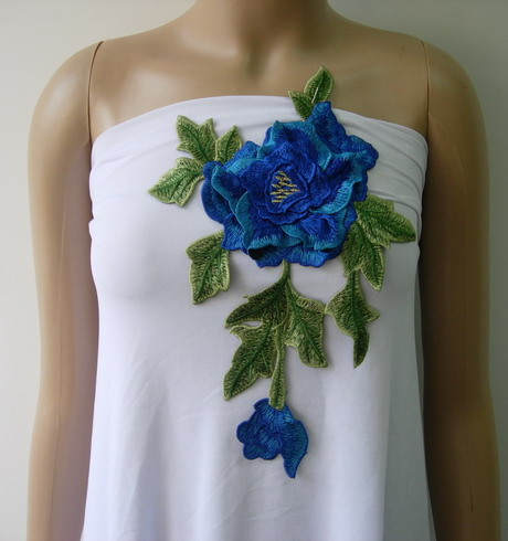 VT255 Blue-tone Tier Floral Flower Trim Venise Applique