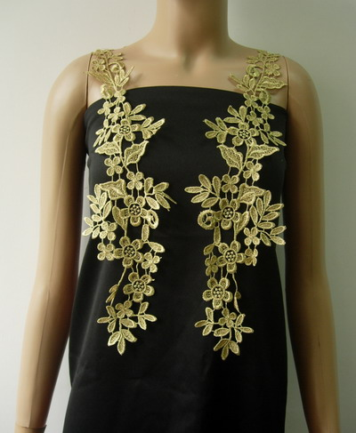 VT270-2 Long Paired Floral Metallic Trims Lace Applique Gold