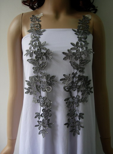 VT270 Long Paired Floral Metallic Trims Lace Applique Silver Blk